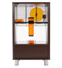 Walnut Style Qute Gerbil and Hamster Cage with Storage