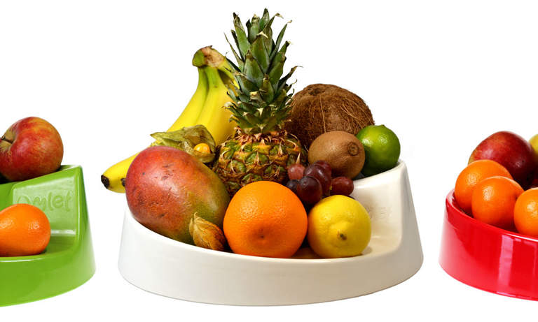 The Rollabowl Fruit Bowl is available in four colours